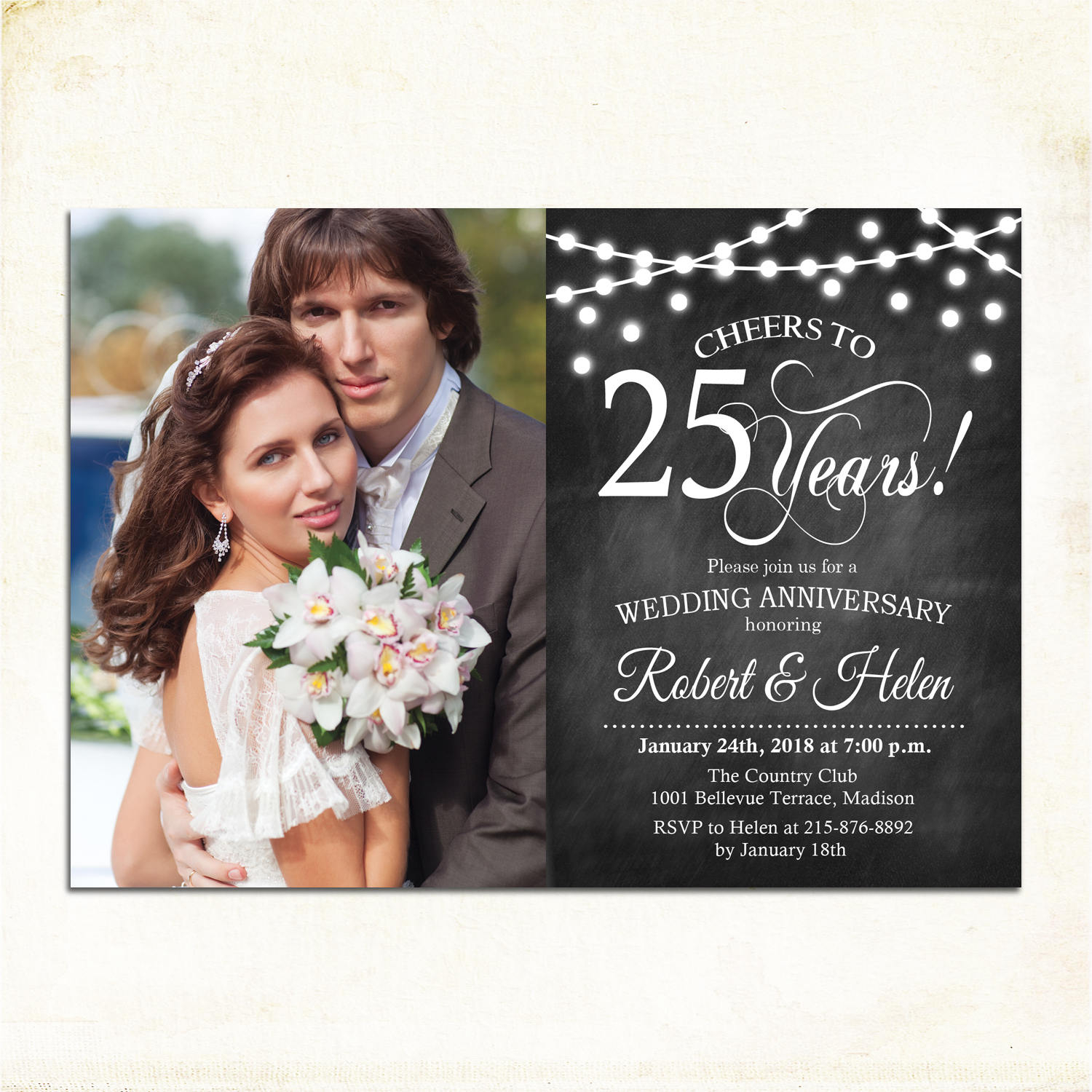 25th wedding anniversary invitation design