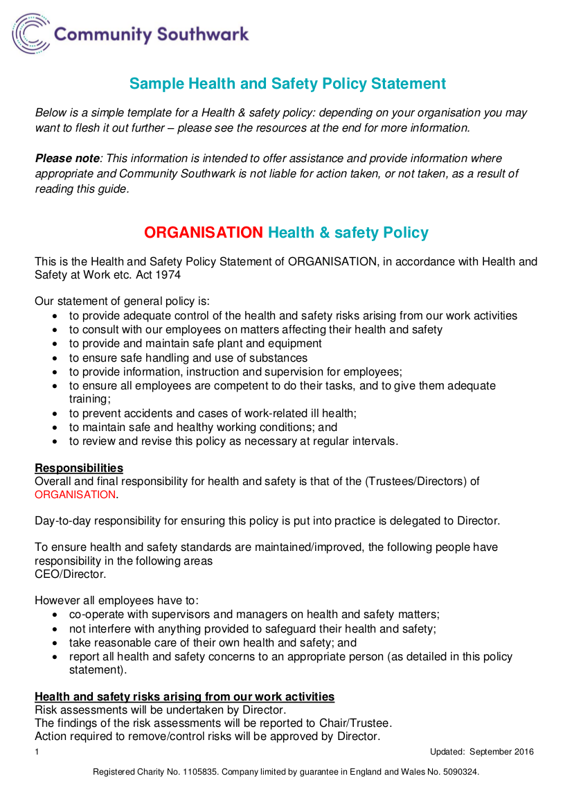 Hse Health And Safety Policy Template 19 Health And Safety Policy Examples Samples