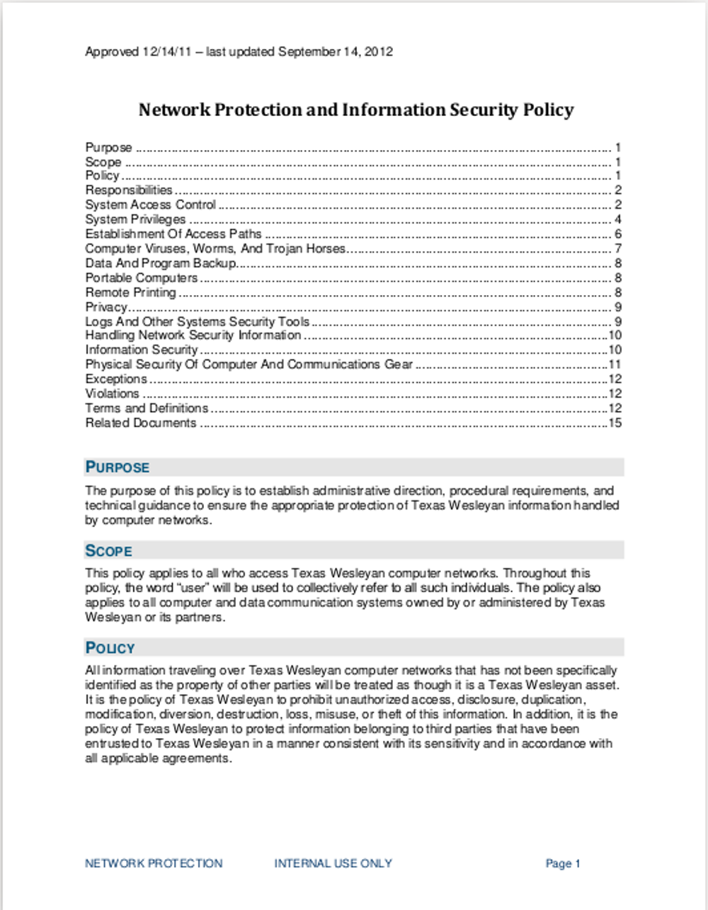 security policy document template - security policy examples examples of security policies