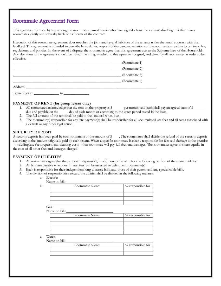 5 roommate agreement form