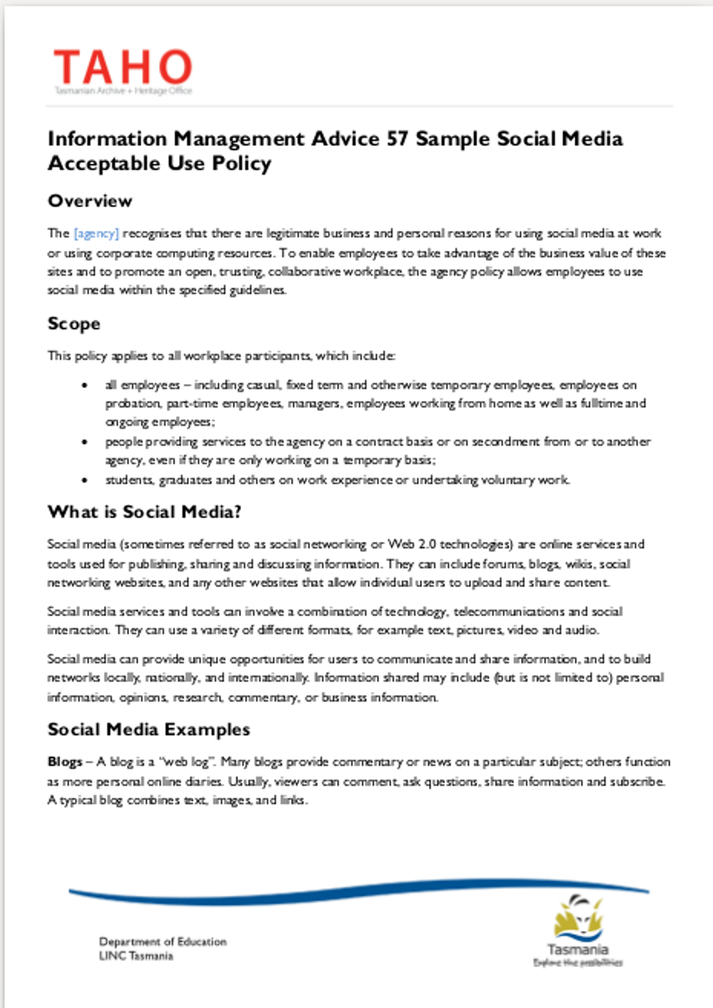 social media acceptable use policy 6 informationstrategytasgovau