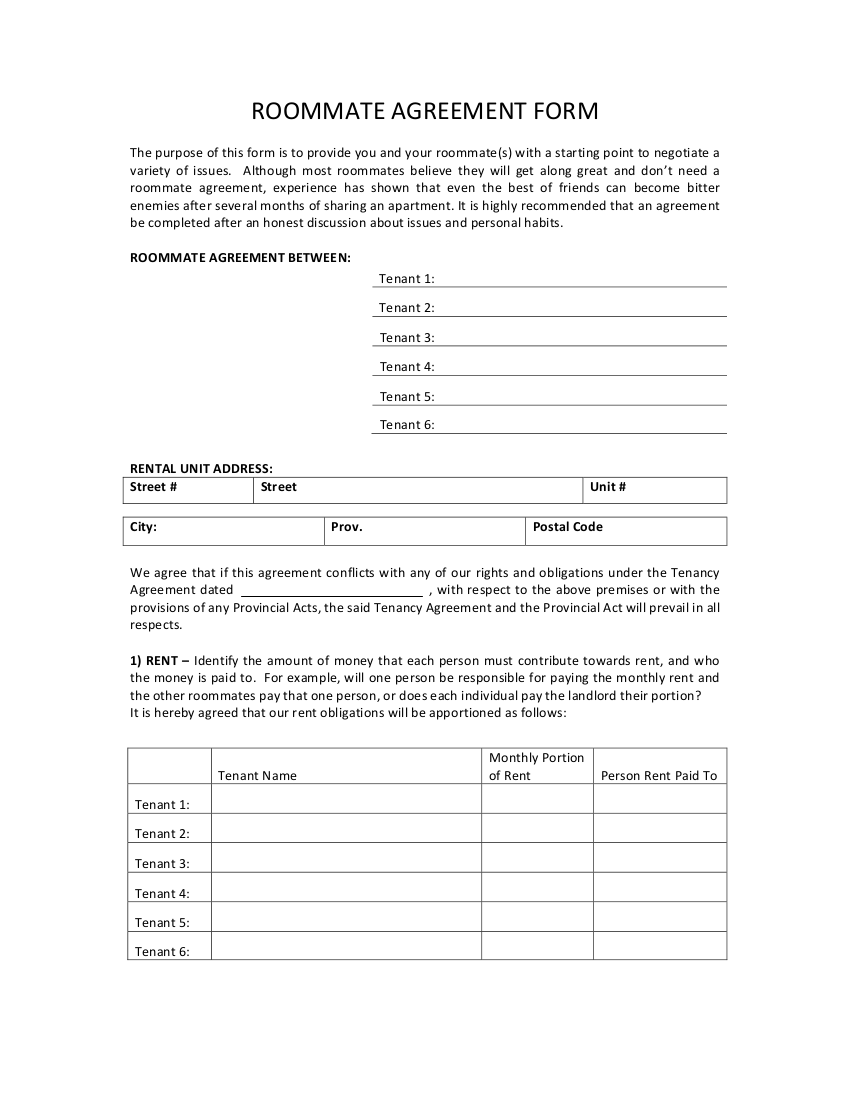 7 roommate agreement form