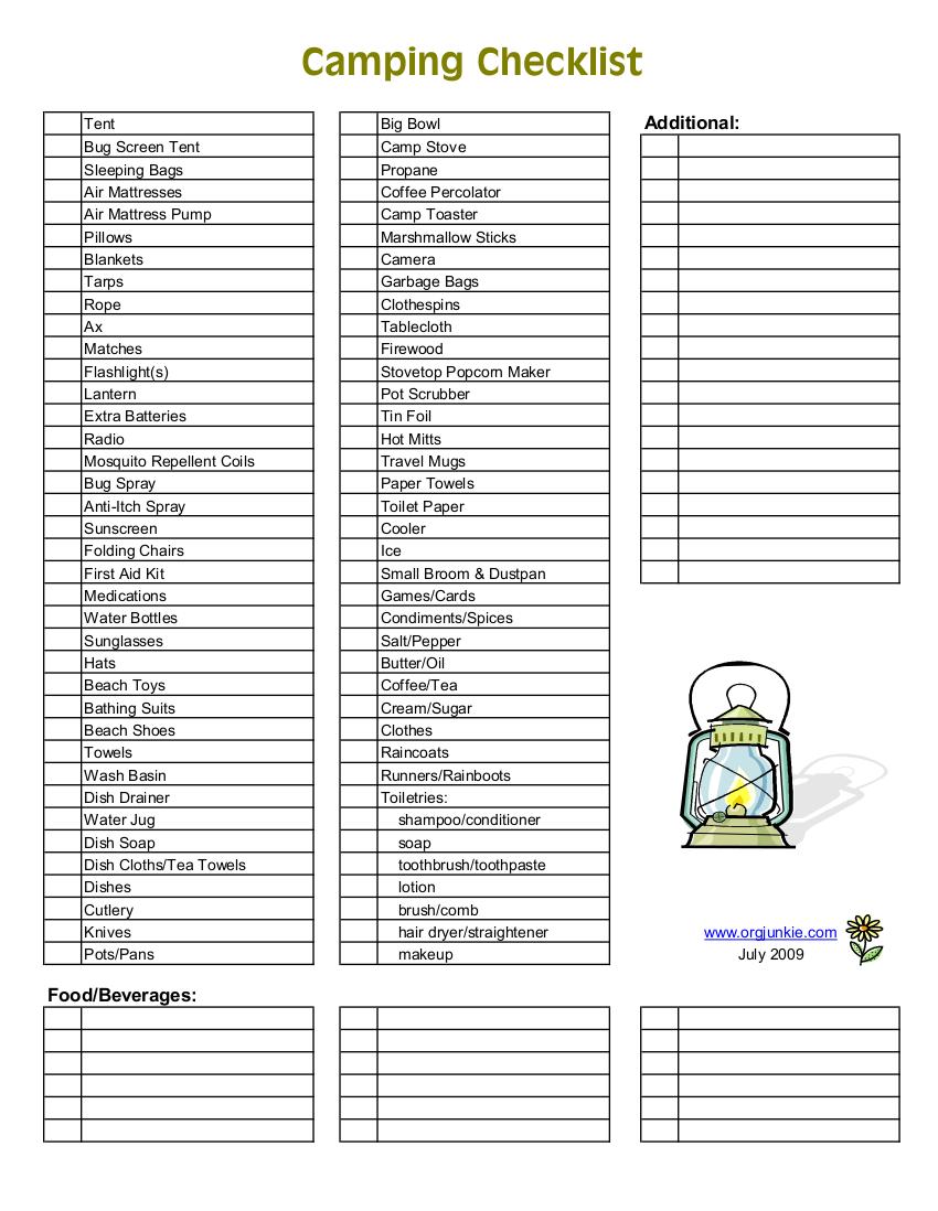 9 camping checklist