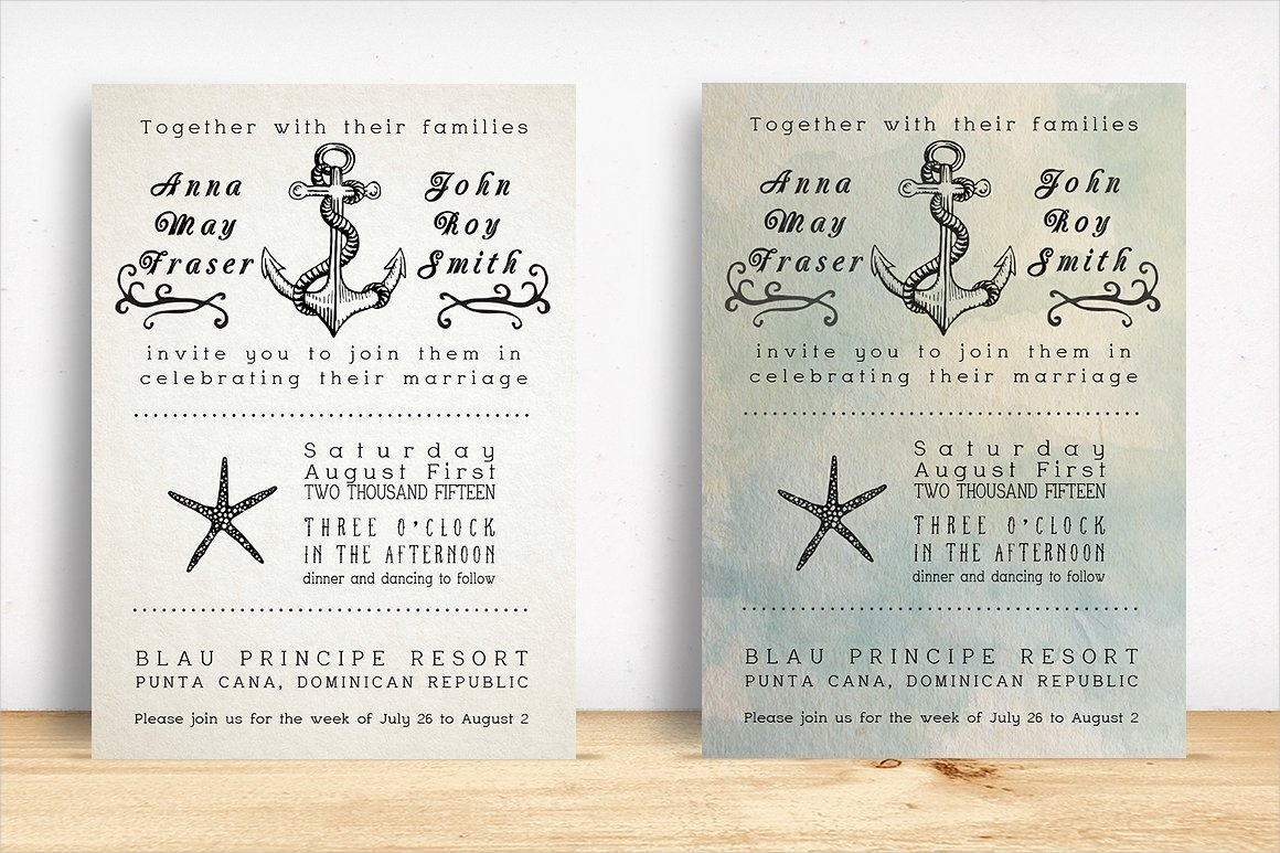 anchor beach wedding invitation