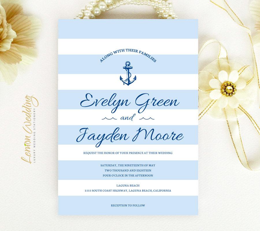 aqua nautical wedding invitation
