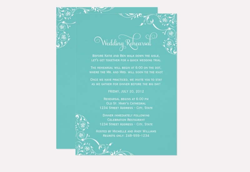 aqua wedding rehearsal invitation design