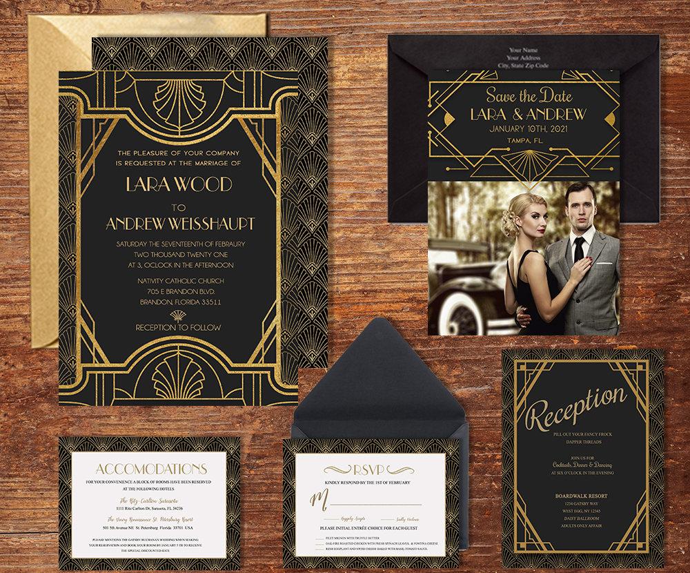 art deco wedding invitation suite