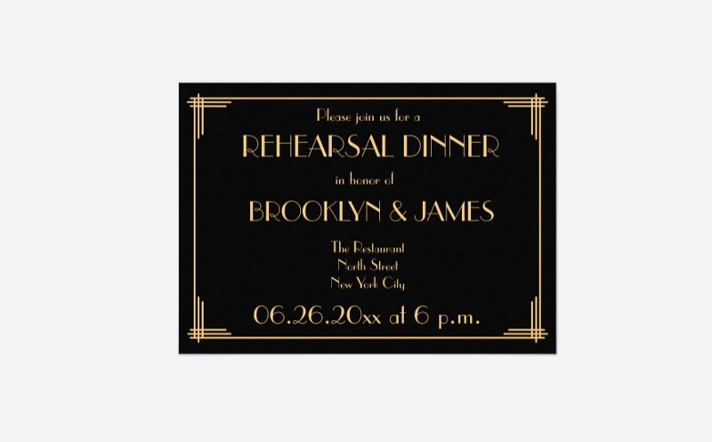 art deco wedding rehearsal invitation design