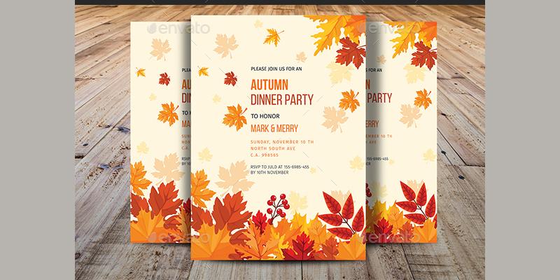 autumn dinner party invitation