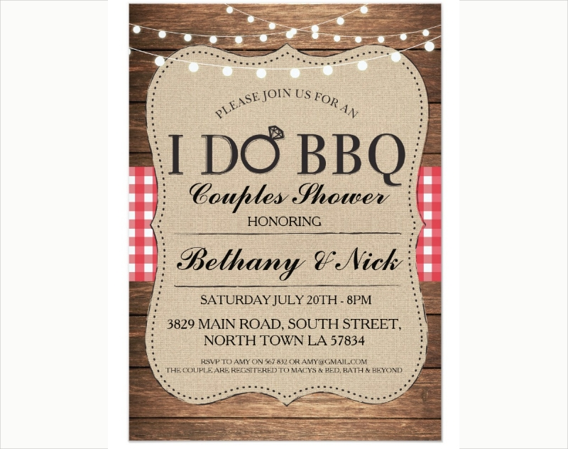 bbq couples party invitation