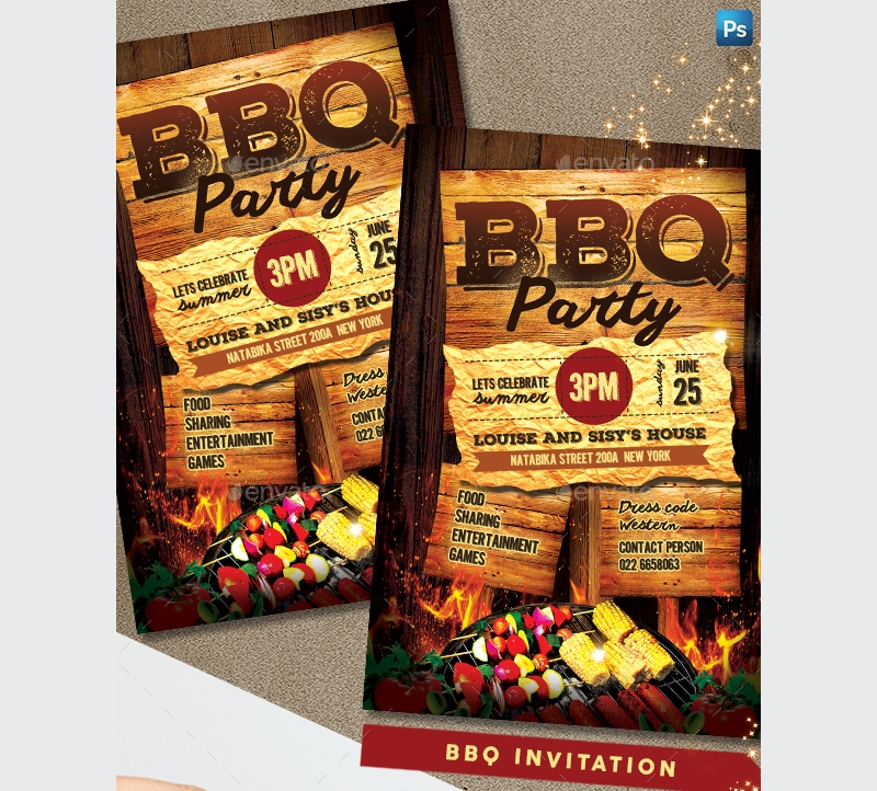 bbq event party invitation