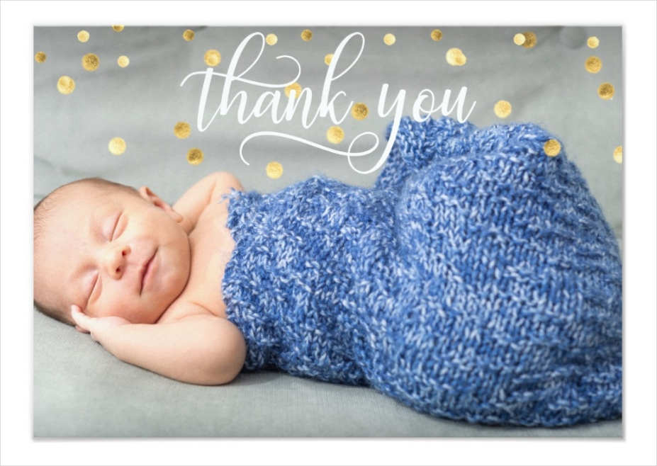 baby photo thank you card