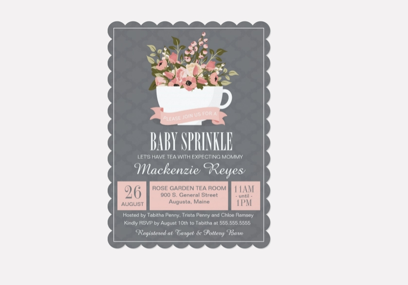 baby sprinkle tea party invitation