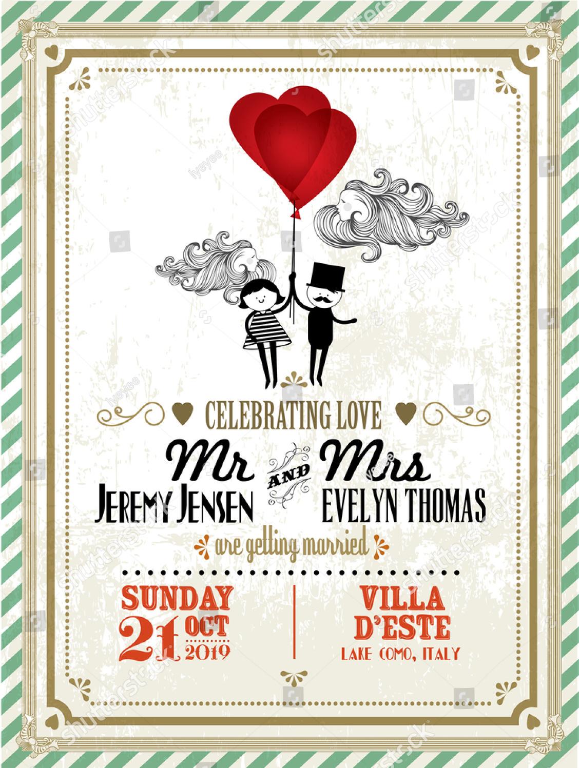 balloon vintage wedding invitation