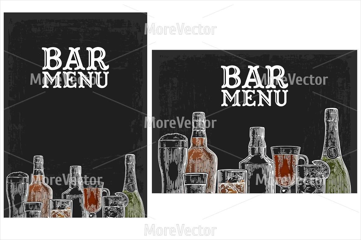 bar menu for alcoholic drinks