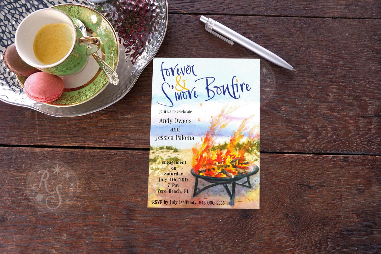 beach bonfire wedding party invitation