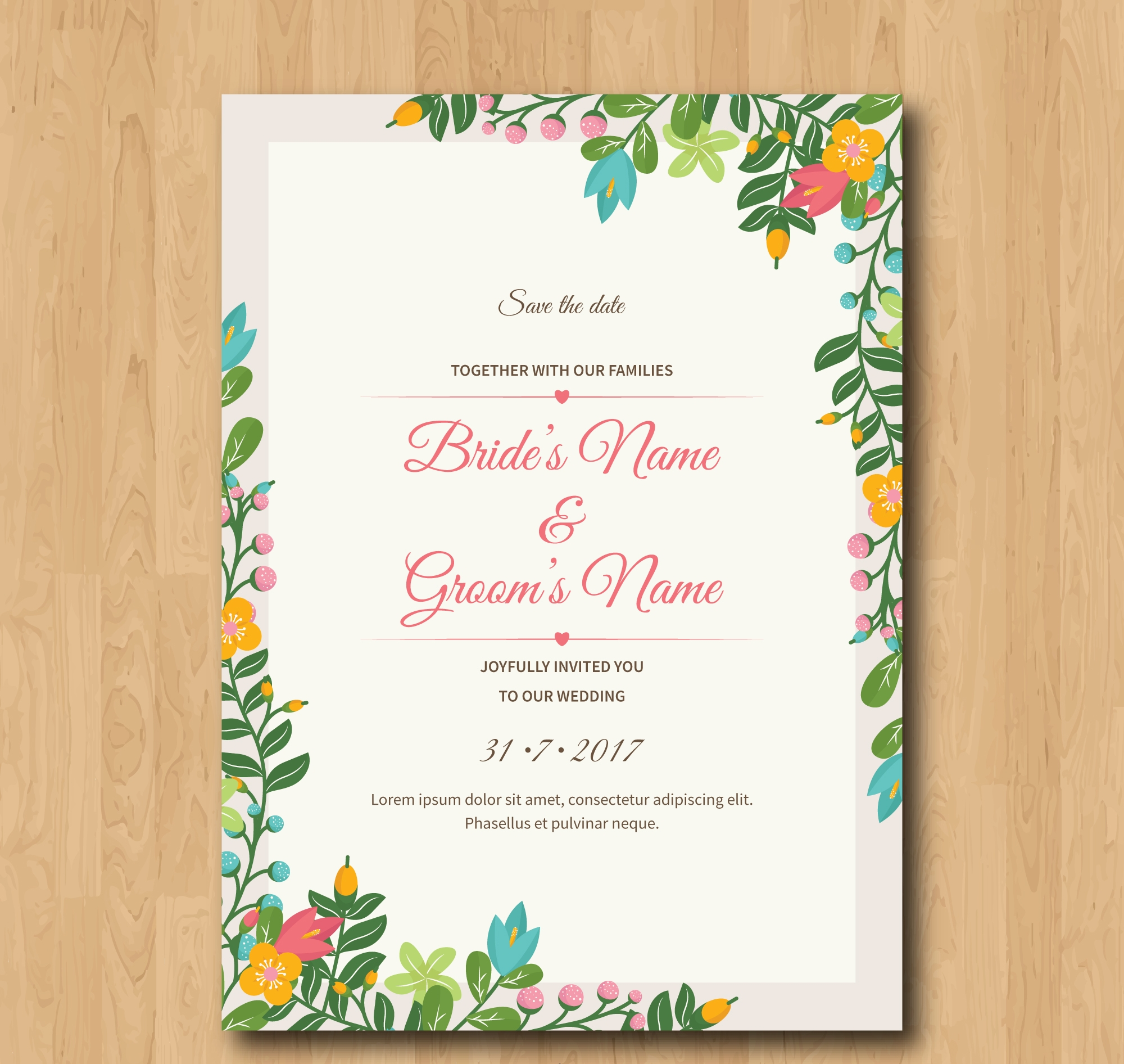 best wedding invitation with flowers