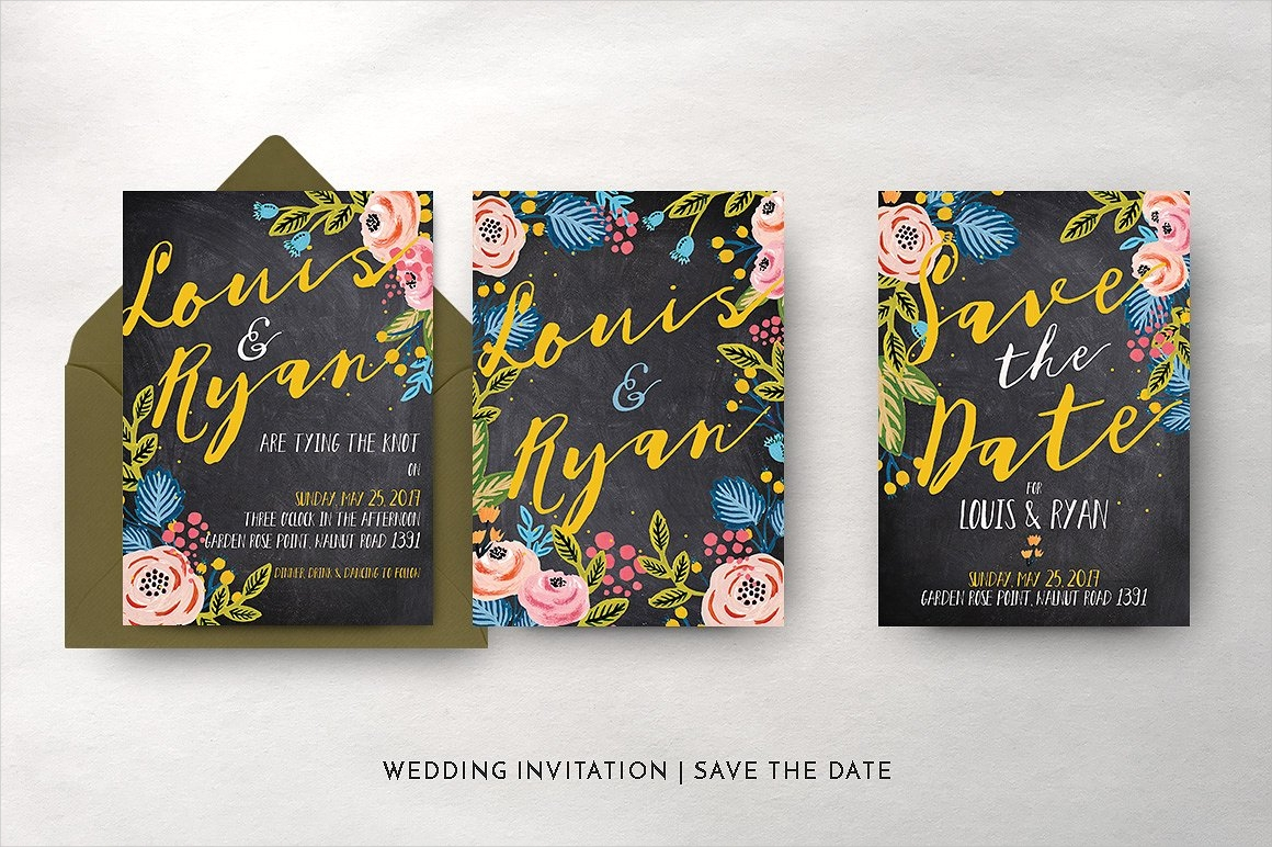 black floral wedding invitation