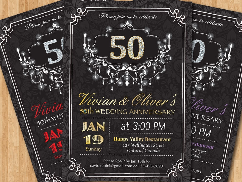 black and gold 50th wedding anniversary invitation