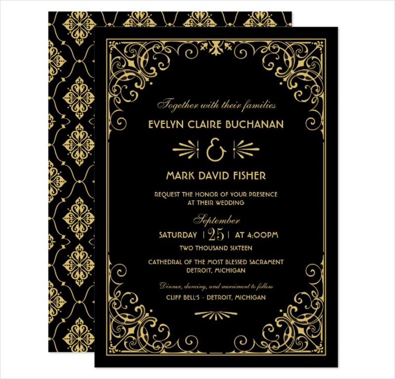 black and gold art deco wedding invitation