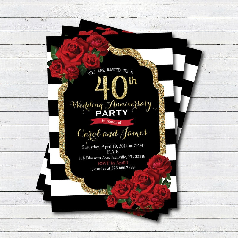 black and white wedding anniversary invitation