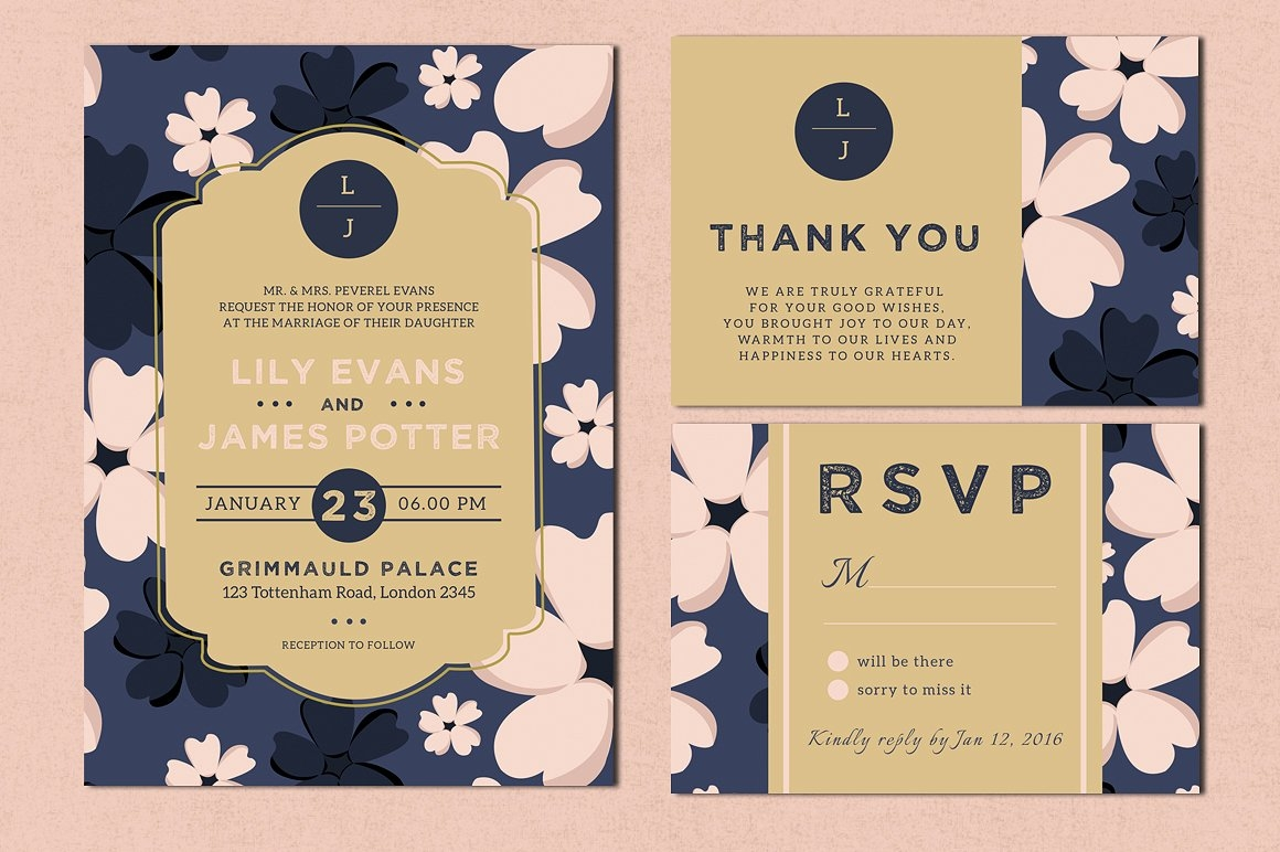 bloomy wedding invitation