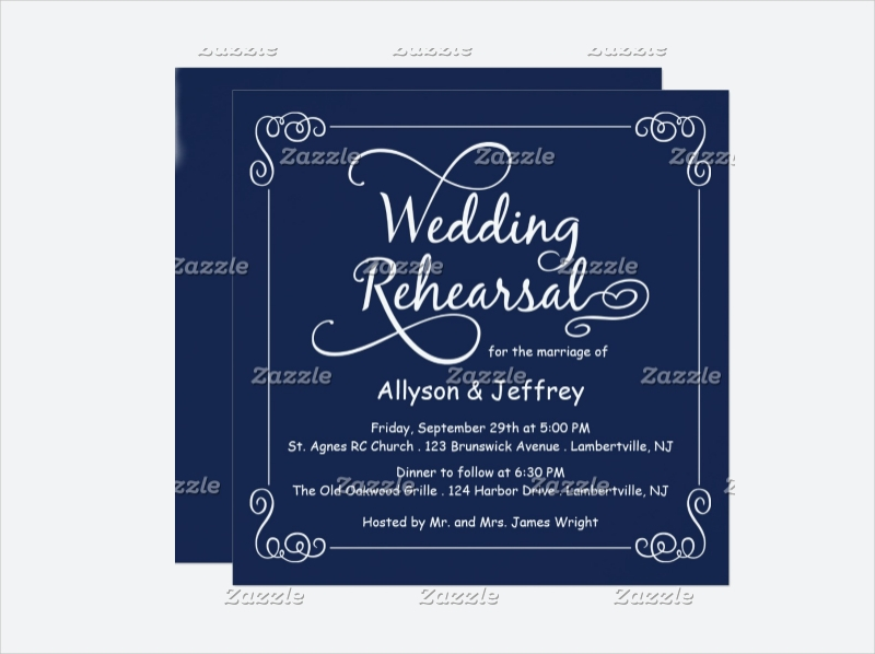 blue wedding rehearsal invitation
