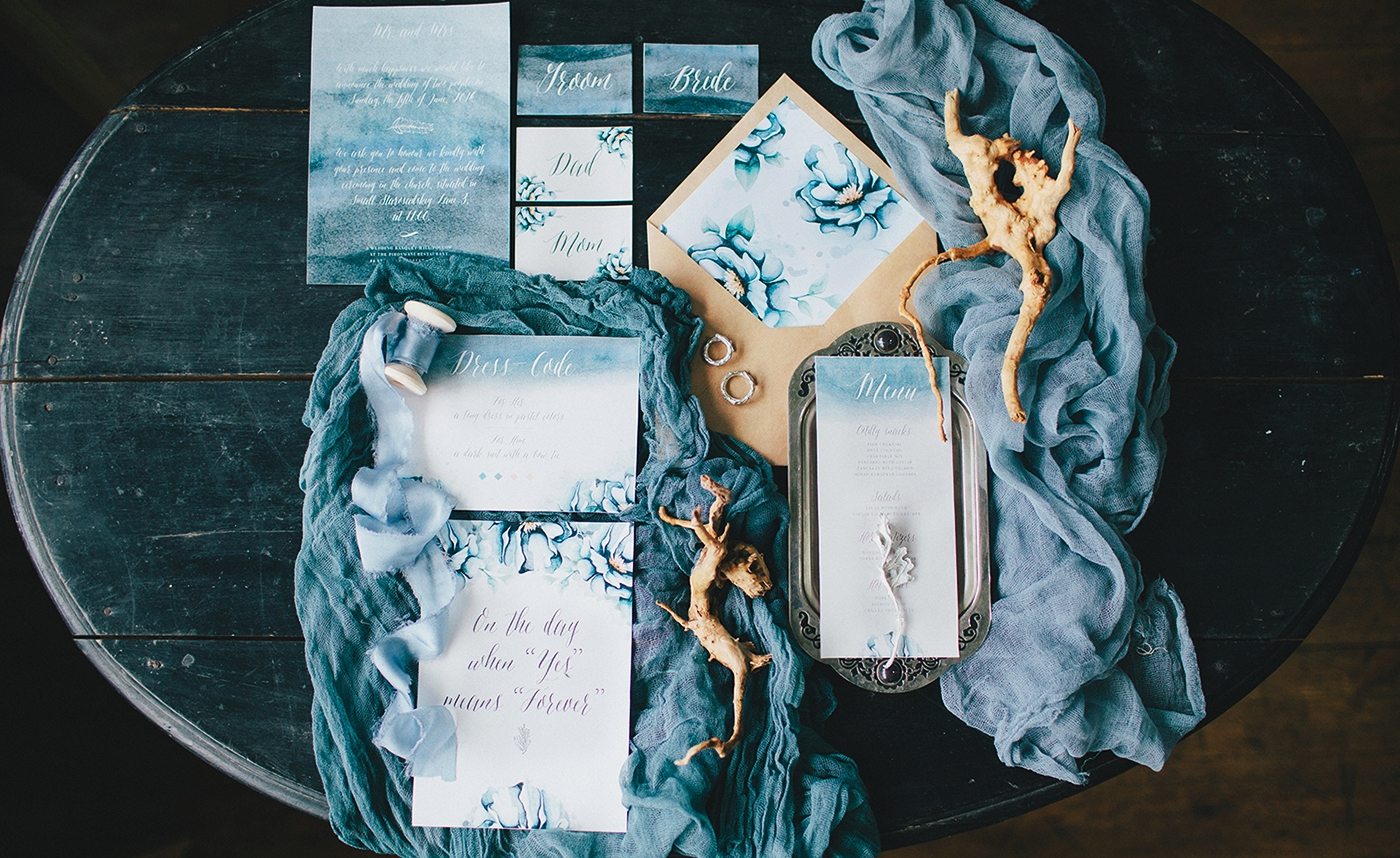 blue winter wedding invitations