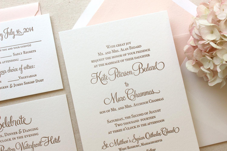 blush liner traditional wedding invitation