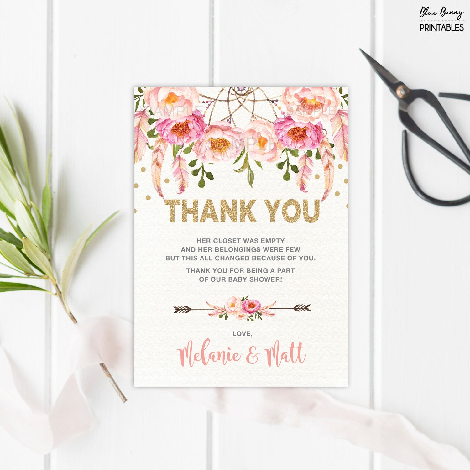 boho baby shower thank you card