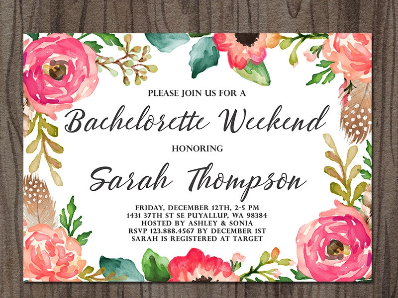 boho bachelorette party invitation