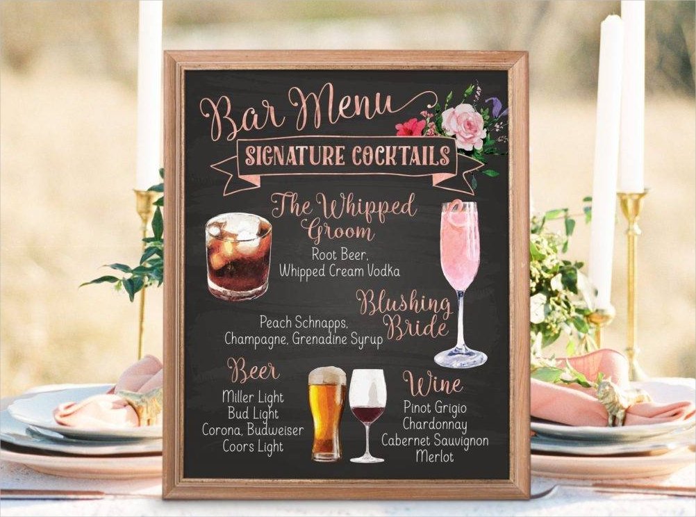 botanical wedding bar menu