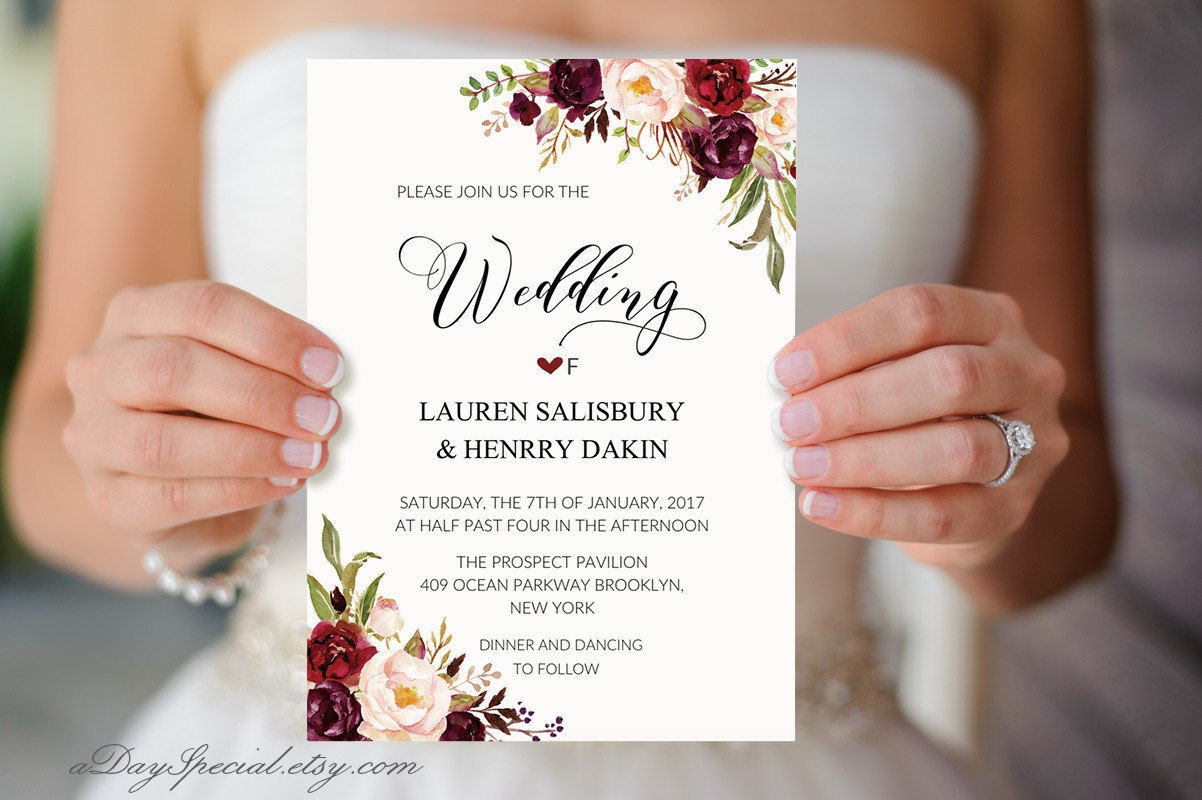 bride floral wedding invitation