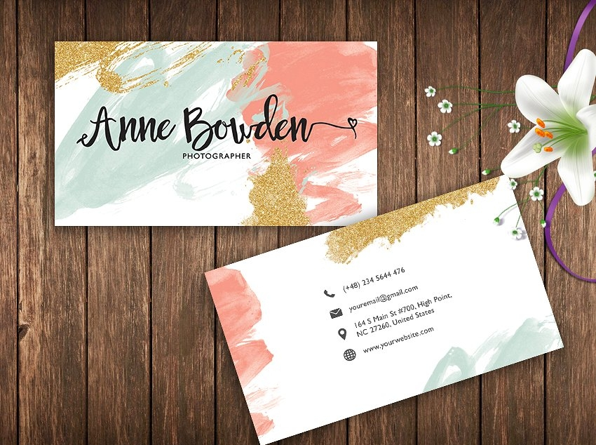 brush strokes name card template