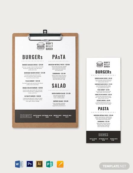 burger restaurant menu template