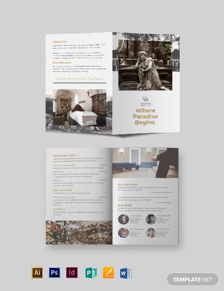 burial funeral service bi fold brochure template