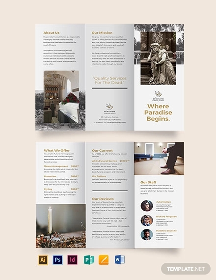burial funeral service tri fold brochure template