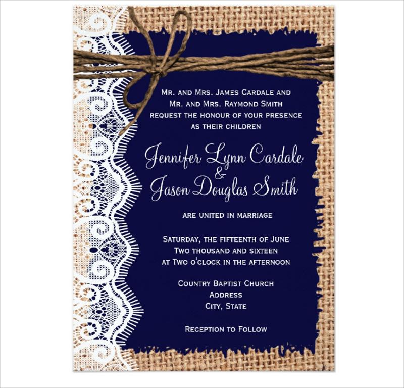 burlap lace twine wedding invitation