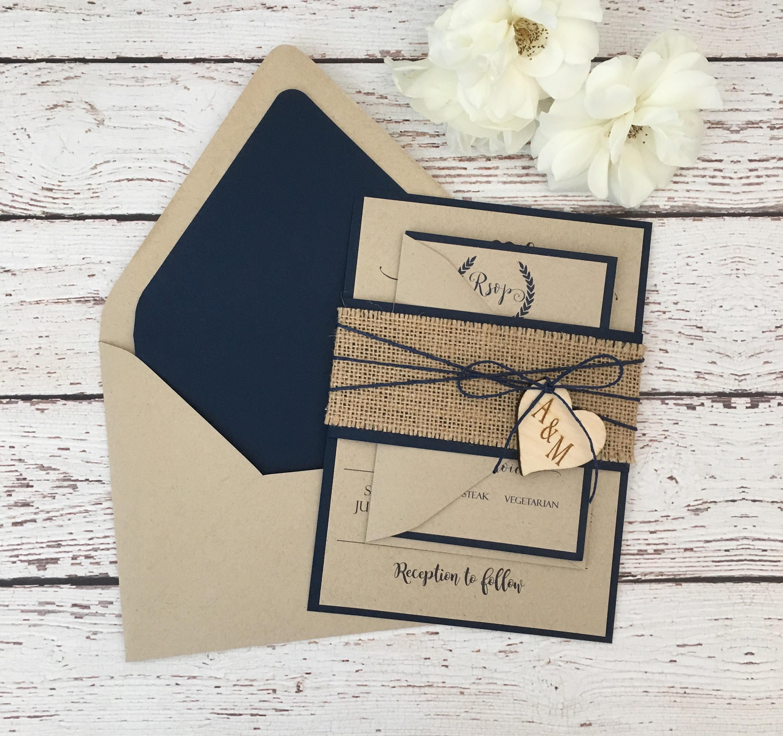 burlap navy blue wedding invitation