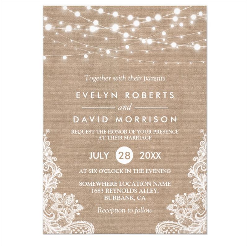 burlap string lights lace wedding invitation1