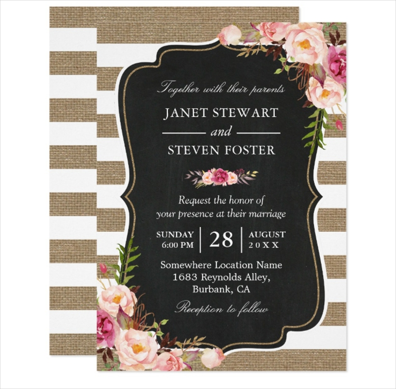 burlap stripes chic wedding invitation
