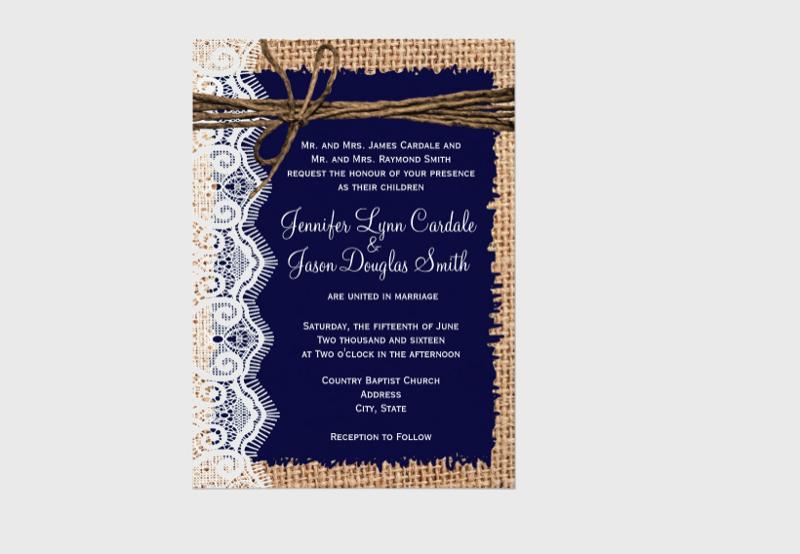 burlap wedding invitation design