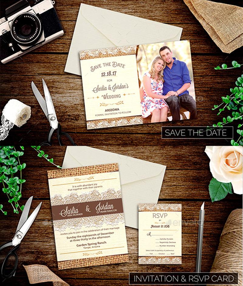 burlap and lace wedding invitation suite1