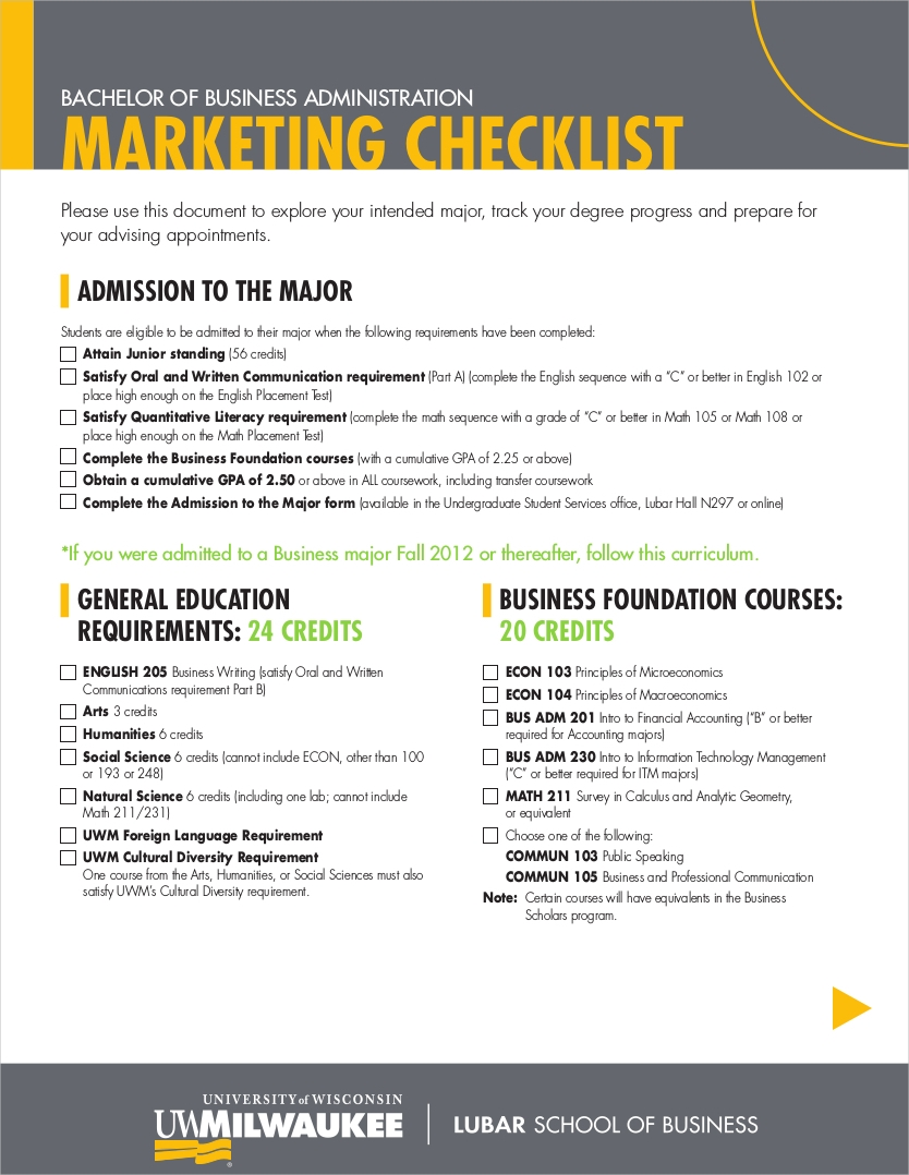 business administration marketing checklist1