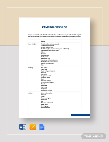 camping checklist example