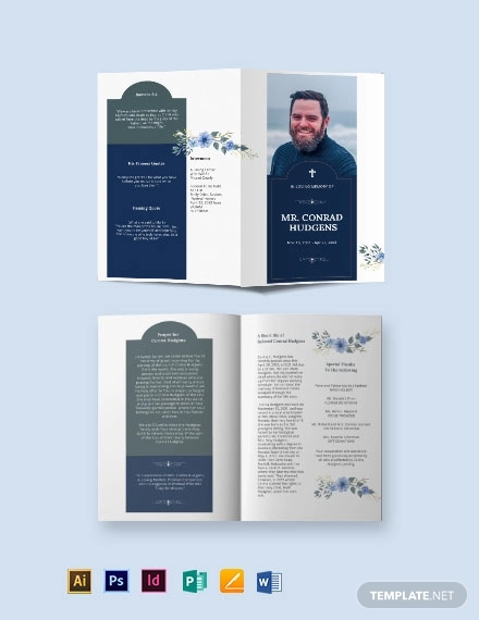 catholic burial funeral bi fold brochure template