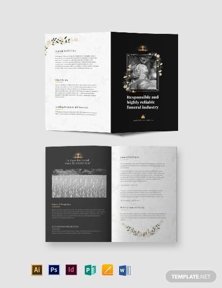 catholic funeral service bi fold brochure template