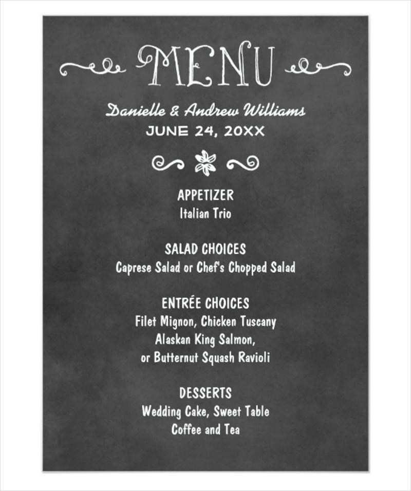chalkboard dinner menu