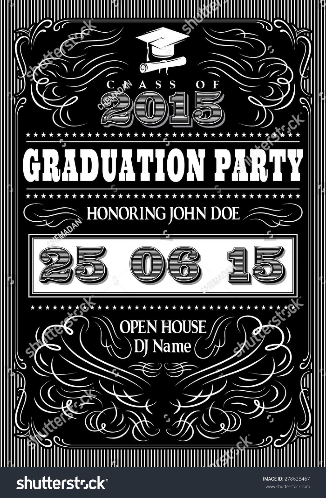 chalkboard graduation party invitation
