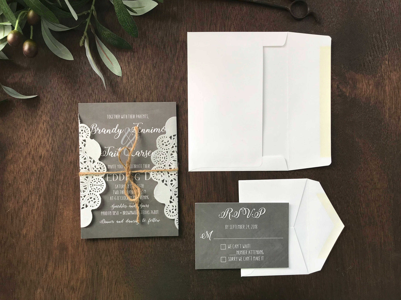 chalkboard lace wedding invitation